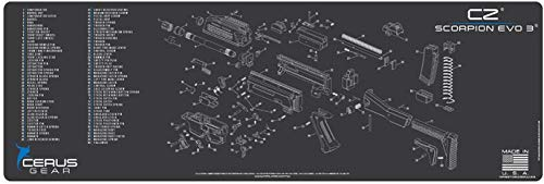 EDOG Scorpion Gun Cleaning Mat  Schematic Exploded View Diagram Compatible with CZ EVO 3 Series Rifle 3 mm Padded Pad Protects Your Firearm Magazines Bench Table Surfaces Oil Solvent Resistant