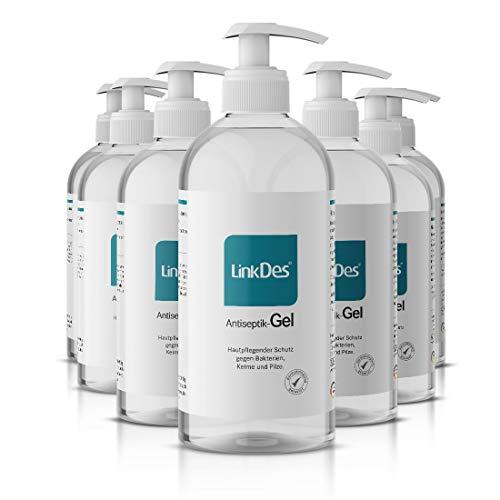 LinkDes® Antiseptik Gel, Handhygiene Gel, klebt nicht an den Händen, Desinfektionsgel, ideal für unterwegs oder auf Reisen (15x 500ml)