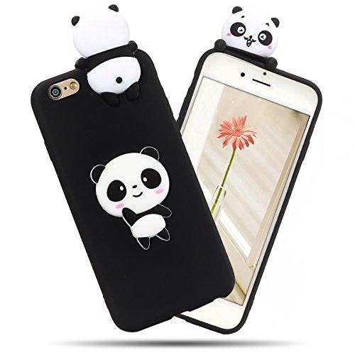 SpiritSun Cover iPhone 6 Case iPhone 6S Moda Ultraslim Soft TPU Case 3D DIY Kawaii Flessibile Liscio Perfetta Protezione Shell Morbido Silicone Custodia per iPhone 6/6S (4.7 Pollici)-Panda Nera
