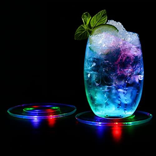 MEDOYOH Juego de 3 posavasos de luz LED multicolor para vasos, de encendido/apagado, desechables, impermeables, para botellas, redondos, para fiestas, bodas, bares, Navidad
