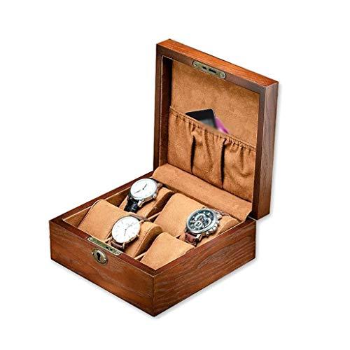 pojhf GYDSSH Joyería de Reloj Caja, 6 Ranuras de Madera Organizador del Caso del almacenaje de la joyería for Hombre Relojes Colección sostenedor de la exhibición de la Franela Almohada