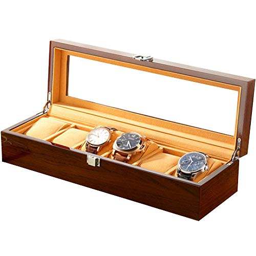 QMWY horloge doos, horloge vitrine Houten glas horloge doos Sieraden doos 3/6/12/18 grid horloge opslag display box Stuur leiderschapskist