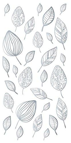 decorprint hojas plateadas, decalcomanía, plateado + Color blanco, 10x 20cm