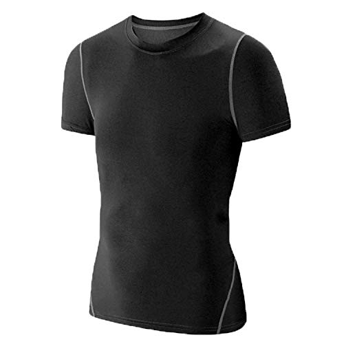 LANBAOSI Boy's Compression Shirts Child's Short Sleeve Base Layer Tops Black 5