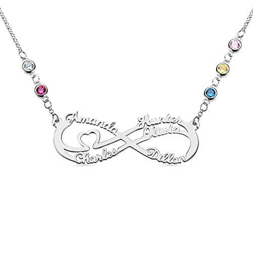 Collar con nombre Collar familiar personalizado Nombre grabado y piedra de nacimiento Colgante infinito Aniversario para mamá(Plata 20)
