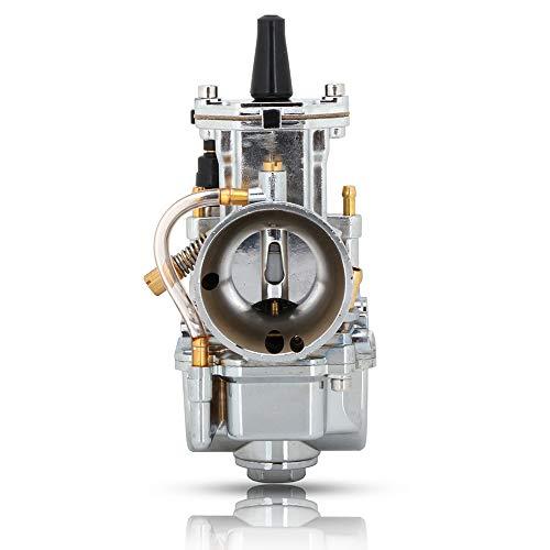 JFG RACING Carburador PWK de 28 mm para motocicleta Kei hin Honda Yamaha Suzuki Kawasaki K.T.M gy6 75cc 80cc 100cc 125cc 2T 4T – cromado