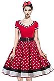 AXOE Femme Robe Vintage Année 50 avec Bandeau à Pois Audrey Hepburn Pin up Rockabilly Rouge