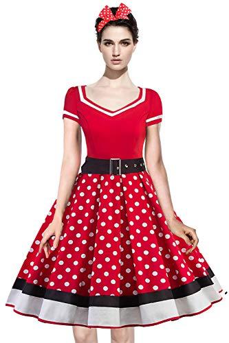 Axoe Damen 50er Jahre Kleider mit 1 Stück Stirnband Gepunktetes Cocktailkleid, Rot, XXXXL (48 EU)