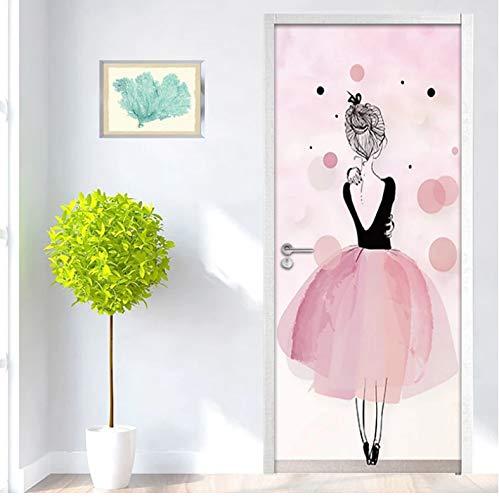 QQFENG Türaufkleber Selbstklebend Rosa Ballerina Mädchen Kunst Wand Kinderzimmer Wandbild Wohnkultur Türtapete 95 x 215 cm