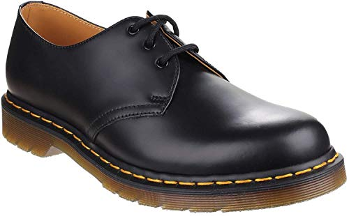 Dr. Martens 1461, Unisex-Erwachsene Derbys, Schwarz (Black Smooth/Orange), 42 EU