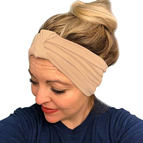 AMUSTER Damen Gestrickt Stirnband Häkelarbeit Schleife Design Winter Kopfband Haarband Frauen Stirnbänder Winter Ohr Warme Kopf Wickeln breites Haar Zubehör Stirnband