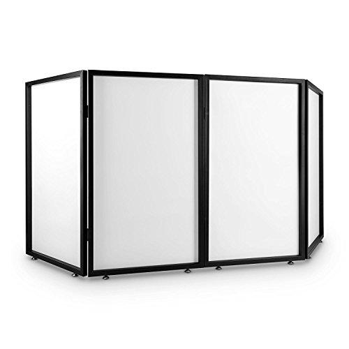 FrontStage Facade 4 - Trennwand, DJ-Kanzel, DJ-Screen, Faltbare Konstruktion, 4 Segmente, lichtdurchlässige Bespannung, Vierkant-Metallrahmen, höhenverstellbare Standfüße, weiß