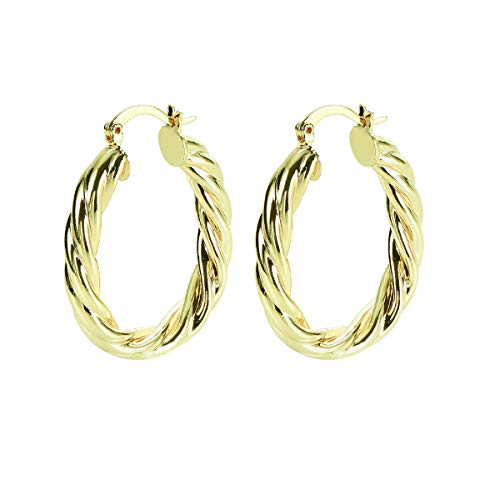 Yumay 9ct Gold Twisted Oval Hoop Earrings for Women.