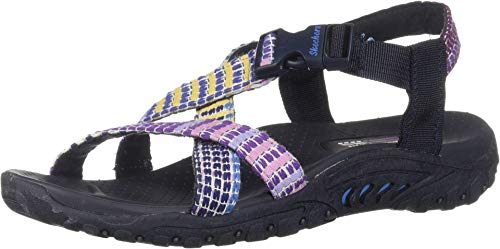 Skechers Women's Reggae-SEW What-Boho Woven Strappy Slingback Sandal, Navy Multi, 8 M US