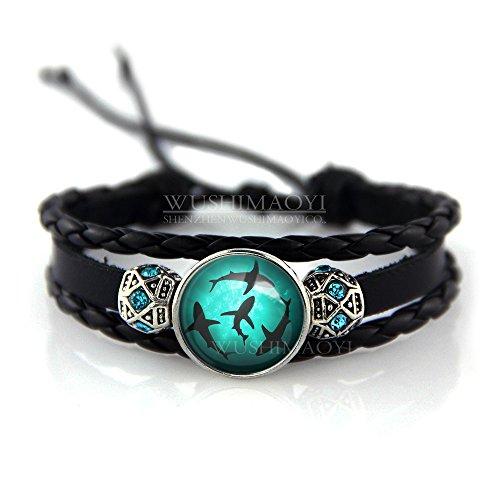 WUSHIMAOYI Circling Sharks Bracelet Circling Sharks Bracelets Personalized Shark Jewelry Shark Bracelet Leather Bracelet Braid Leather Jewelry Blessing Gift
