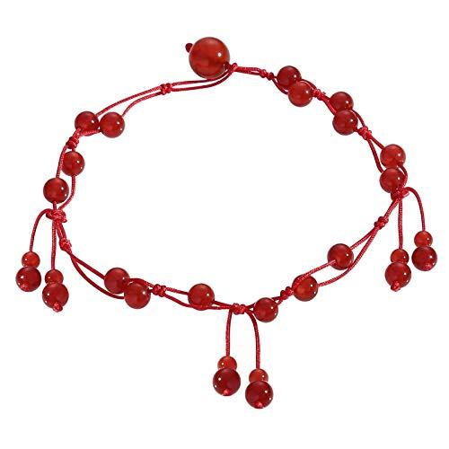 Adisaer Fußketten Damen Fußkettchen Hippie Rot Rot Jade Strand Vintag Orient Granat Stick Gflochten Geburtstag Knöchelkette Fußkettchen Für Liebhaber