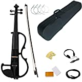 Electric Violin, Black Full Size 4/4 Vintage Solid Wood Mahogany Metallic Electric/Silent Violin with Ebony Fittings, Carrying Case, Audio Cable, Rosin, Bow,Battery (black)