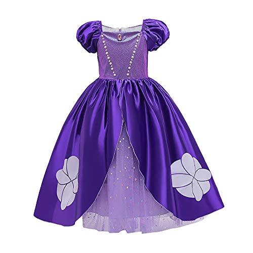 Ibakm - Disfraz de Cenicienta para nios y nias, vestido de princesa Sophia Rapunzel, para cosplay, carnaval, Halloween, fiesta de cumpleaos Violeta 1 4-5 Aos