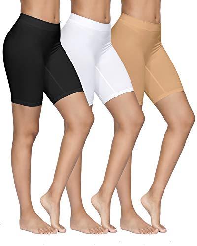 YADIFEN 3 Pack Women Seamless Slip Shorts Stretch High Waist Yoga Bike Short Boyshort Panties for Under Dress