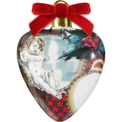 Baci Milano Xmas Tartan Cuore bombato in Porcellana XHEA.TAR01 Natale Decorazione Albero Sfera