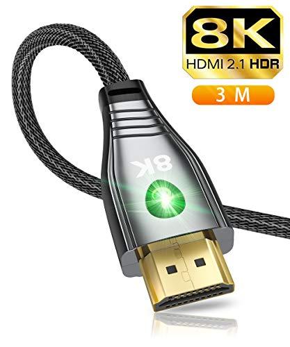 8K HDMI Kabel 3 Meter, kompatibel mit Allen 4K 2K, HDMI 2.1 Kabel Kompatibel mit Apple TV Roku PS5 / PS4 / PS3 Xbox One X/Serie X Samsung QLED 8K Q8 / Q9 Sony Z8H / Z9G LG OLED ZX / 99 / Z9(3m)