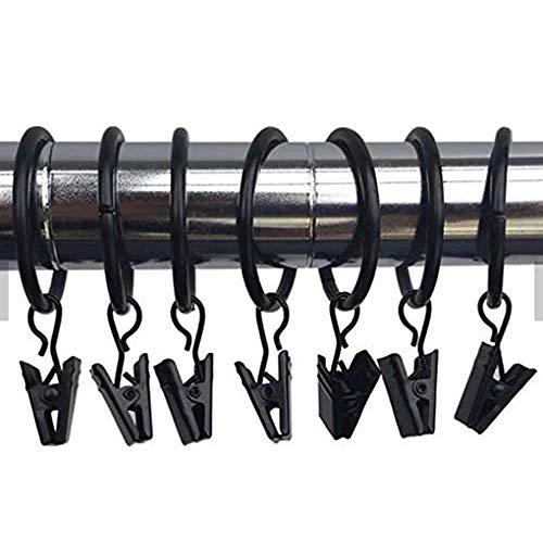 Marwotec 100 STK. 35mm Durchmesser Mehrzweck Vorhang Clips Schwarz Gardinenstange Gardinenringe Vorhangringe mit Clips