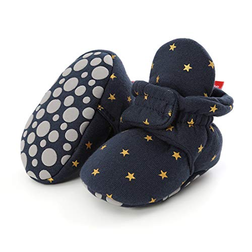 Tutoo Infant Baby Boy Girl Cozy Fleece Bootie Newborn Stay On Slipper Sock Soft Sole Gripper Non-Skid Crib Shoe First Birthday Shower Gift, B-star Navy, 12-18 Months Infant