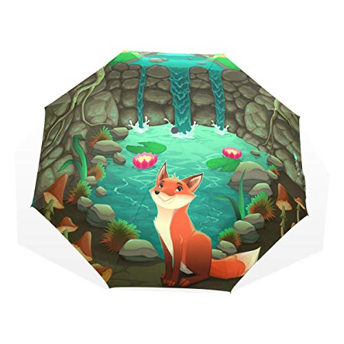 XiangHeFu Anti-UV paraplu Cartoon Happy Fox Home Woods 3 vouwen lichtgewicht