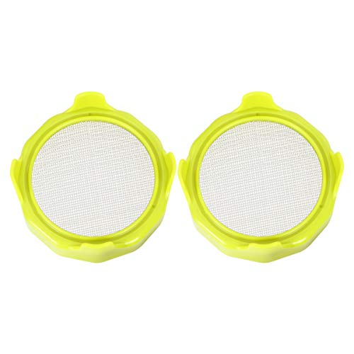 UPKOCH 2PCS Stainless Steel Sprouting Lids Bean Screen Plastic Mason Jar Sprouting Lids for Wide Mouth Mason Jars Grow Bean Sprouts Alfalfa Salad Sprouts and More Green