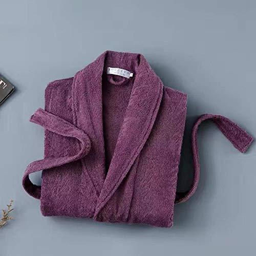 YSKDM Otoño Invierno Nueva Toalla Terry Robe Kimono Vestido Algodón Hombre Ropa de Dormir Amantes Lencería íntima Ropa Informal para el hogar Ropa de Dormir, Letra Morado, XL