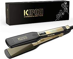 KIPOZI Piastra per Capelli Professionale, Piastra Larga in Titanio con Display Digitale Lcd, Adatta a Tutti i Tipi di...