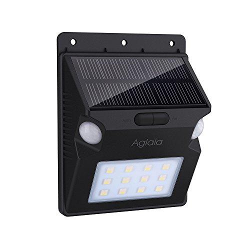 Aglaia Lampada Solare con Doppio Sensore di Movimento, 1W Luce Solare da Esterno con 12 LED, 5 Modalità e RGB Colore Cambiamento per Giardino, Cortile, Patio, Corridoio, Scale, Fuori Muro ecc.(LT-W14)