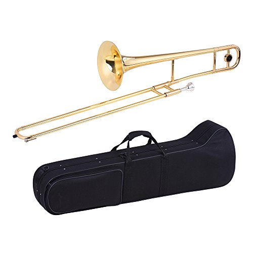 ammoon Tenor Trombone Brass Gold Lacquer Bb Tone B flat with Cupronickel Mouthpiece Cleaning Stick Gloves Case