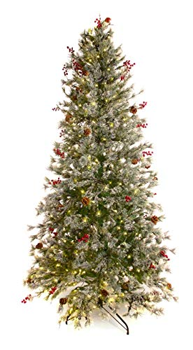 Best Artificial 7.5ft / 225cm Pre Lit Frosted Norwegian Pine Decorated Christmas Tree with Red Berries & Pine Cones