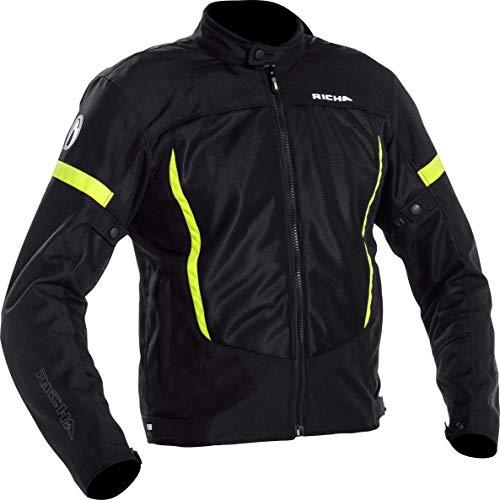 Chaqueta de motorista Richa con protectores, chaqueta Airbender de color negro y amarillo, talla L, para hombre