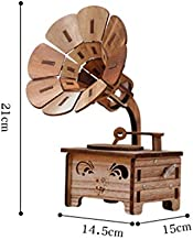 VDT Music Box Music Phonograph Shaped Wooden DIY Hand Fashion Cranked Mechanical Music Box Ornament for Gift Home Office Decor Crafts