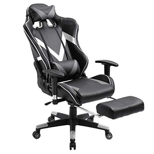Homgrace - Sedia da ufficio, sedia da ufficio, sedia per computer, sedie da corsa, sedia girevole con schienale alto inclinabile, poggiapiedi allungabile, altezza regolabile e braccioli