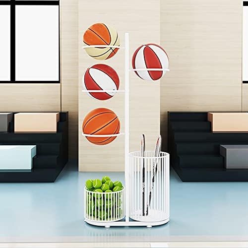 Bolas Estante Baloncesto Fútbol Baloncesto Storag Rack Organizer con canasta de raquetas de bádminton de tenis, soporte de almacenamiento de bola tiene 4 bolas de fitness para garaje, hogar, trastero