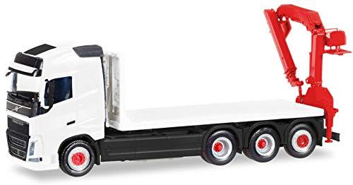 herpa G 013154 Fahrzeug MiniKit: Volvo FH Gl. 4-achs Flachbett-LKW mit Ladekran, Miniatur zum Basteln, Sammeln und als Geschenk,Weiß