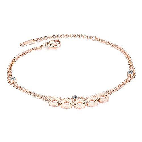Pulsera tobillera de oro rosa con infinito, ajustable con números romanos y cadena de pie