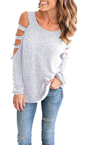 YMING Fall Comfy Top for Women Loose Fit Casual Top for Legging Sexy Tunic Light Grey XL
