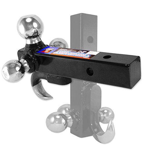 Neiko 20038A 4-in-1 Steel Trailer Hitch and Triple Ball Mount with Hook | 1-7/8