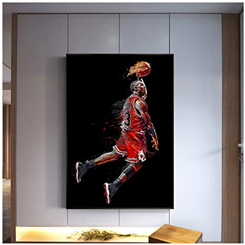 Michael Jordan Poster Fly Dunk Baloncesto Pintura de arte abstracto Cuadros de pared para sala de estar Decoración Dormitorio Deporte Lienzo -60x90cm Sin marco