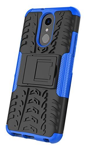 XINFENGDI Funda LG Q7, Carcasa Dura Protección 360° Cubiertas Móviles Anticaídas Resistente Arañazos TPU Caso Protector para LG Q7 con Soporte de Pie - Azúl