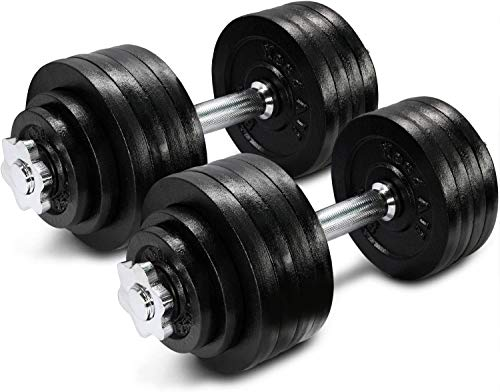 Yes4All Adjustable Dumbbells 40, 50, 52.5, 60, 105 to 200 lbs with Connector Options (F1. Black - 105lb (52.5lb x 2))