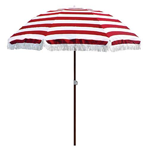 LDFZ 6.5ft/2m Beach Umbrella/Outdoor Round Garden Umbrella/UPF50+, Suitable for Outdoor Patio Terrace Summer Holiday, Red Stripes and Blue Stripes