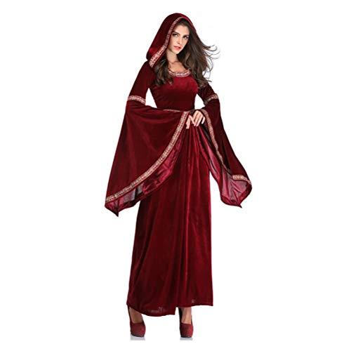 YPEZ Disfraz De Halloween para Mujer, Capa con Capucha De Vino Tinto, Disfraz De Halloween para Varias Fiestas De Baile, Carnavales(Size:SG)