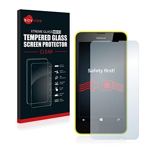 Savvies Panzerglas kompatibel mit Nokia Lumia 635 - Echt-Glas, 9H Festigkeit, Anti-Fingerprint