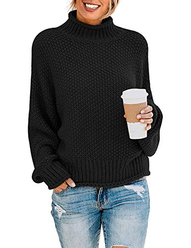 ZESICA Women's Turtleneck Batwing Sleeve Loose Oversized Chunky Knitted Pullover Sweater Jumper Tops,Black,Medium