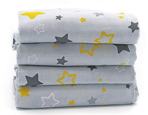 Clevere Kids set di 4 pannolini LUX in mussola stampato con stelle | 80x80 | doppio tessuto | certificati STANDARD 100 da OEKO-TEX (Asterion grigio-giallo)